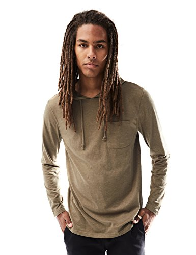 Chest Pocket Lightweight Pullover - Rebel Canyon Young Men's Long Sleeve Lightweight Pullover Hoodie Top with Pocket Small Olive Heather