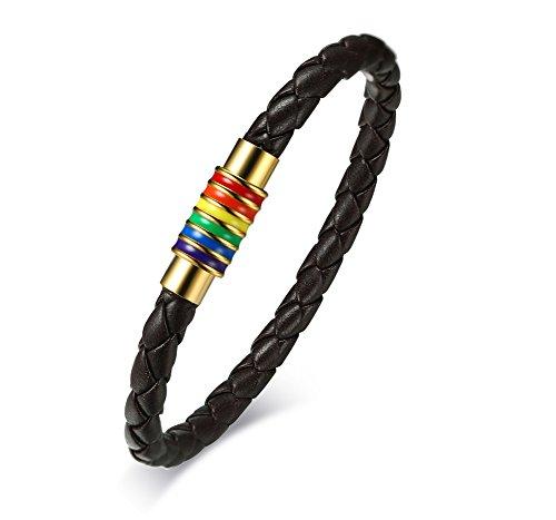 Enamel Magnetic (Stainless Steel Lgbt Rainbow Enamel Braided Leather Bracelet Gay & Lesbian Pride,Magnetic Clasp,7.5