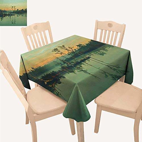 UHOO2018 Square/Rectangle Polyester Tablecloths A Quiet Reflection in a Fairyland of Lake Water Fuitable for Home use,52x 52 inch from UHOO2018