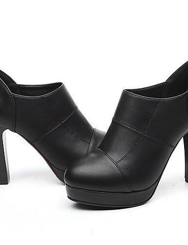 GGX/ Damen-High Heels-Büro / Lässig-Kunststoff-Blockabsatz-Absätze-Schwarz / Rot black-us5 / eu35 / uk3 / cn34