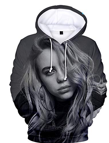 SIMYJOY Unisex Billie Eilish Bellyache Hoodie 3D Print Hiphop Street Fashion Oversized Casual Sweatshirt L