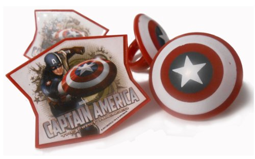 "Captain America ""The First Avenger"" Cupcake Rings - 12ct"
