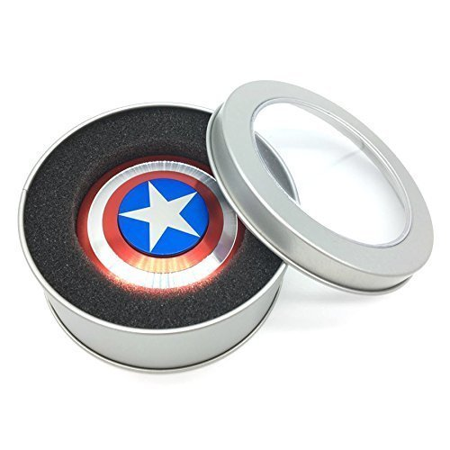 BOSS Electronics Fidget Spinner Captain America 2-5 Minute Spin Time Aluminum Metal Premium Quality (Red, Silver, Blue)