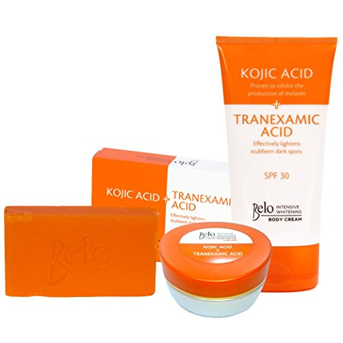 Price comparison product image Belo Intensive Kojic & Tranexamic Acid Whitening Set - Body Cream, Face/Neck Cream and Soap