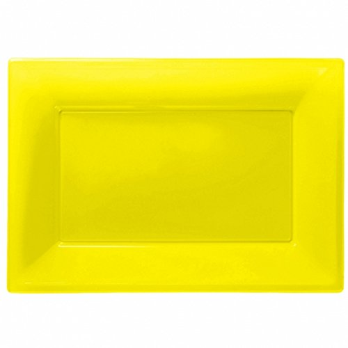 Amscan Plastic Rectangular Party Platters (Pack Of 3) (One Size) (Sunshine (Party Tray Size)