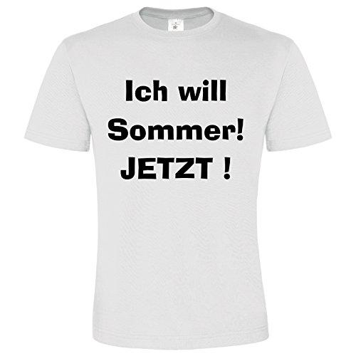 Sommer T-Shirt Funny Shirt Ich Will Sommer Jetzt Shirt Lustiges Shirt Cooler Spruch Farbe Weiß Druck Schwarz S-3XL