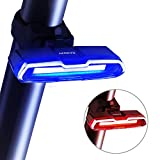 Bike Tail Light, Canway Ultra Bright Bike Light USB Rechargeable, LED Bicycle Rear Light, Waterproof Helmet Light, 5 Light Mode Headlights with Red & Blue for Cycling Safety Flashlight Light