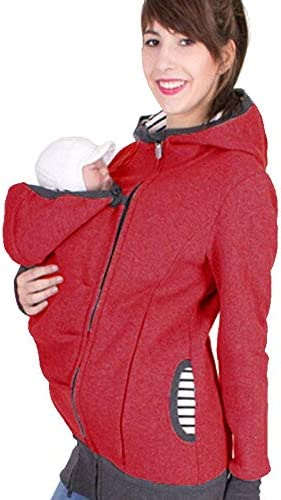 Xinqin Ding Womens Maternity Fleece Hoodie Warm Kangaroo Coat Hooded Jacket Outwear 3 in 1 Baby Carrier Holder Pullover Top Polar Multi-Functional Breastfeeding Suit Red