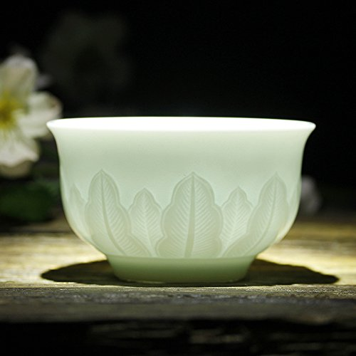 Banana Leaf Porcelain - Jingdezhen Porcelain, Handmade Engraving China Cup, China Celadon Ceramic, Gongfu Tea Cup, Banana Leaves Design, GJP-02