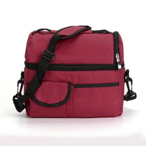 (PATTONJIOE Waterproof Thermal Shoulder Picnic Cooler Lunch Bag Storage Box Tote Rose Red)