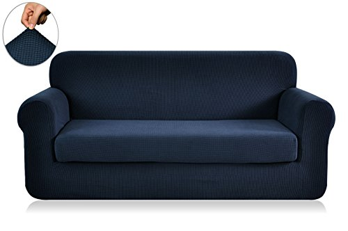 CHUN YI 2-Piece Jacquard Polyester Spandex Sofa Slipcover (Loveseat, Dark Blue) - Polyester Furniture Cover