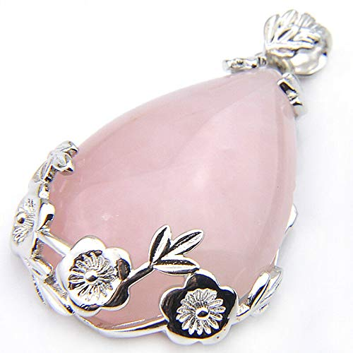 Jewelryamintra Teardrop Shaped Handmade Natural Rose Quartz Agate Gems Silver Necklace Pendant