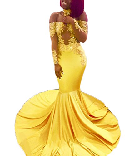 alilith.Z Sexy Off The Shoulder Prom Dresses Appliques Mermaid Long Sleeve Evening Party Dresses for Women with Choker Yellow