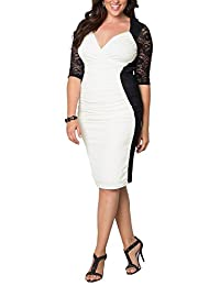 Dilanni Women V Neck Half Sleeve Ruched Waisted Plus Size Bodycon Dress( 0X-5X)