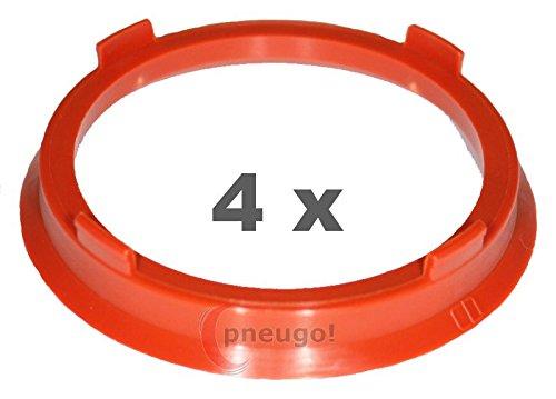 4 X Anello Di Centraggio in plastica 66.6 mm su 57.1 mm Marrone Ruggine Pneugo