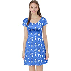 CowCow Sky Blue Cat Short Sleeve Dress, Sky Blue - M