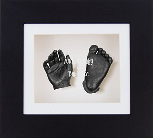 BabyRice 3D Unisex Baby Casting Kit Black Box Display Frame Pewter Foot Casts