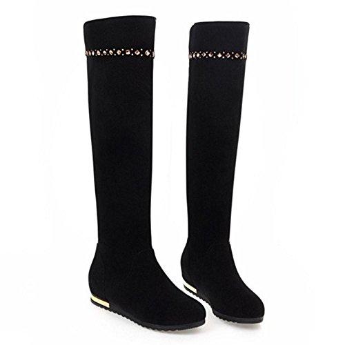 On Pull Hidden Heel Boots TAOFFEN Women's Black EnzqXwB6