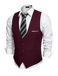 COOFANDY Men's Slim Fit Business Suit Vest Skinny Wedding Waistcoat