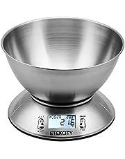 Etekcity EK4150 Báscula Digital para Cocina con Tazón Removible, 11 lbs / 5 kg, Acero Inoxidable, con Bol de Mezcla, Retroiluminación Blanca, Alarma y Sensor de Temperatura, Gris
