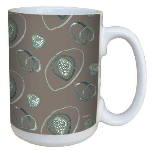 Tree-Free Greetings lm43616 Contemporary Bio Swirls on Sand by Shell Rummel Ceramic Mug with Full-Sized Handle, 15-Ounce, Multicolored