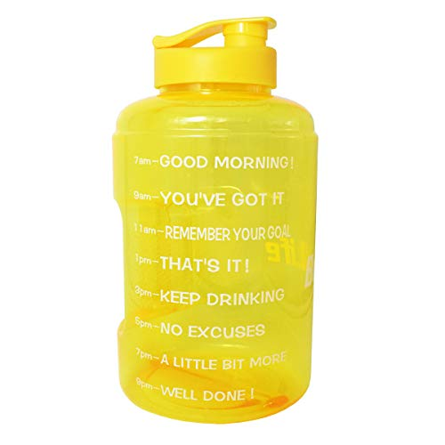 BuildLife 1 Gallon(128OZ/83OZ) Water Bottle Inspirational Fitness Workout Sports Water Bottle with Time Marker Times for Measuring Your H2O Intake,BPA Free (1 Gallon, 1 Gallon-Yellow+Yellow -