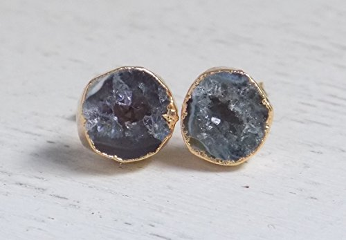 - Gray Geode Stud Earrings Round Druzy Studs Crystal Gemstone Agate Drussy Small Stone Posts Gold