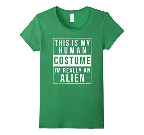Womens Alien Halloween Costume Shirt Funny Easy for Kids Adults Medium Grass