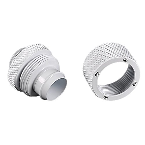 """Bitspower G1/4"""" to 7/16"""" ID, 5/8"""" OD Compression Fitting V3 for Soft Tubing, Deluxe White, 4-Pack"""