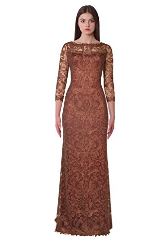 Tadashi Shoji Three Quarter Sleeve Lace Evening Gown Dress