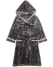Ashtray - Men and Women Long Nightwear Hooded 100% Cotton Dress Warm Warm Warm Gray (Color: B, Size: L),Size:X-Large,Colour:A