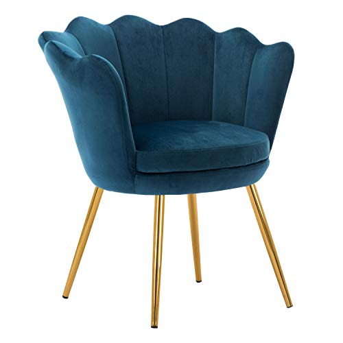 Kmax Living Room Chair, Mid Century Modern Retro Leisure Velvet Accent Chair with Golden Metal Legs, Vanity Chair for Bedroom Dresser, Upholstered Guest Chair – Blue Green