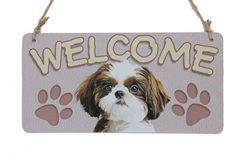 Welcome Dog Sign (Dog Plaque Sign SHIH TZU Welcome Sign With Dog Footprints Sign Plaque (5