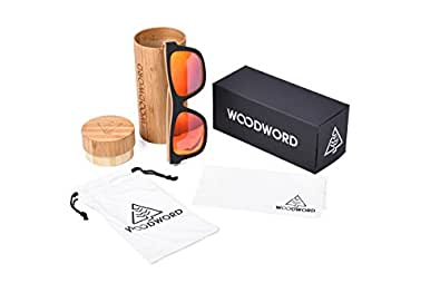 WOODWORD Wood Sunglasses Men Polarized Wayfarer - Wood Frame Sunglasses with Wood Case