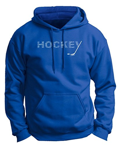 Hockey Word Collage Hockey Fan Gift Premium Hoodie Sweatshirt Large Royal ()
