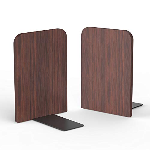 Walnut Wood Bookends, Heavy Duty Desktop Rustic Book Ends Stand Shelves Support Tons of Books, Nonskid