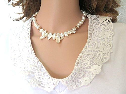 e130732763c2d Amazon.com: Handmade Designer Short and Unique Keishi Pearl Necklace ...