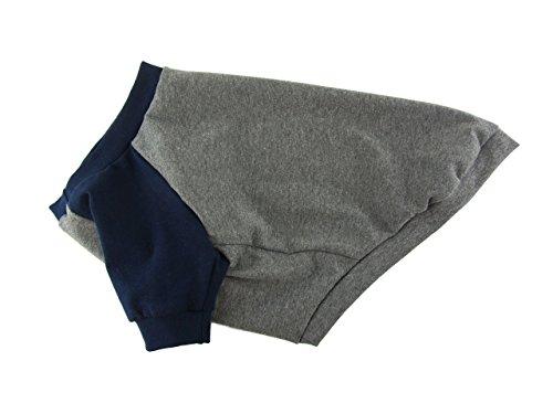 Gray&Navy Contrasting Raglan Top, Cotton Dog Top, Dog Clothing, Dog Apparel, Dog T-shirt, Made in the USA