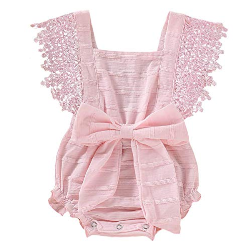 - GRNSHTS Infant Baby Girls White Hollow Ruffles Sleeve Lace Romper Sunsuit Bodysuit (Bowknot Pink, 6-12 Months)