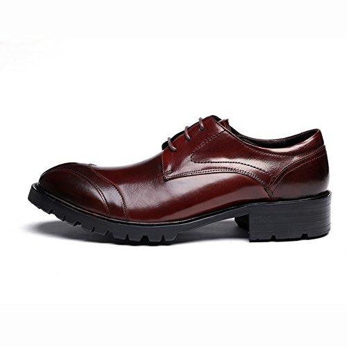 Santimon Hommes En Cuir Véritable Derby Chaussures À Lacets Daffaires Vin Rouge