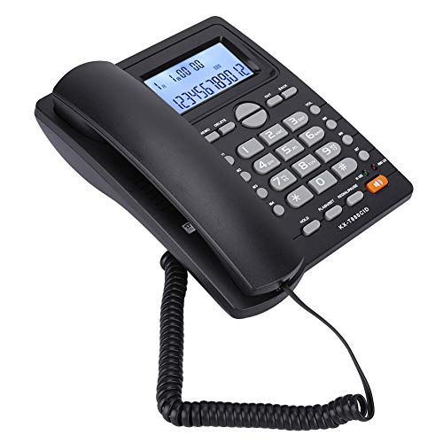 Wendry Corded Telephone, Dual-Port Extension Set Corded Telephone with Caller ID Display with Speakerphone Made of ABS, Durable to Use(Black) from Wendry