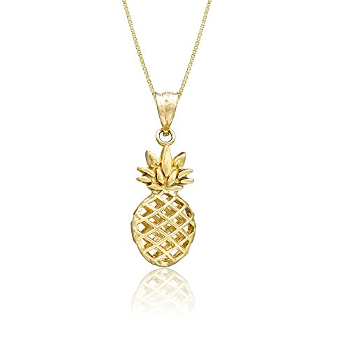 - Honolulu Jewelry Company 14K Yellow Gold Pineapple Necklace Pendant with 18