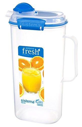 Sistema 921420 Fresh Collection Square Juice Jug, 67.63 oz/8.45 Cup, Clear/Marine Blue