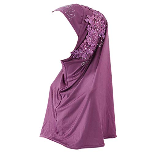 (Head Scarf Women Hijab Cap Muslim Cap Double Loop Slip On Scarf Pull Over Crepe Shawl Headwraps (Purple))