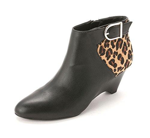 Alfani Womens Ulrika Leather Closed Toe Platform Boots Black/Tan 328Le4