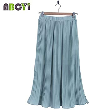 692098388c9 Mother Daughter Skirts Summer Family Matching Clothes 2015 Spring Green  Girls Beach Chiffon Pleated Maxi Skirt Women Long Skirts   Green