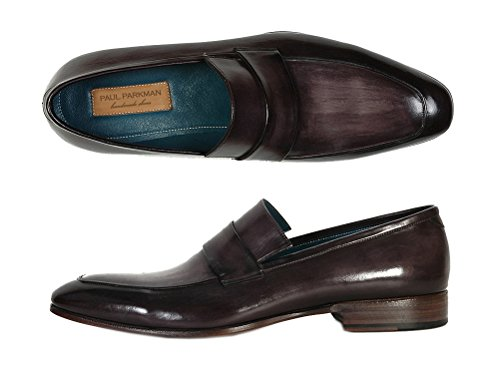 Paul Parkman Men's Loafer Black & Gray Hand-Painted Leather Upper with Leather Sole (ID#093) KCaBi