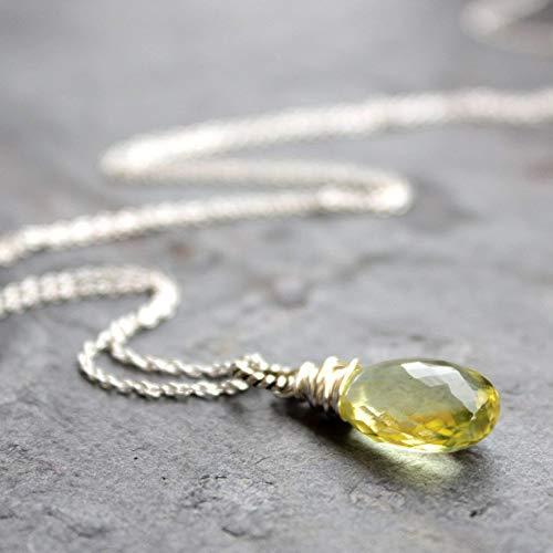 Lemon Quartz Necklace Sterling Silver Faceted Gemstone Briolette Pendant 18 Inch