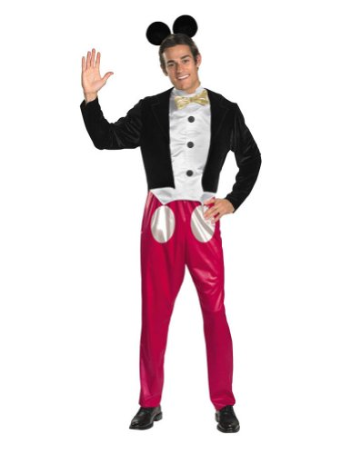 Disguise Mickey Mouse Deluxe Mens Adult Costume, Red/Black/White, (Mickey Mouse Costumes Men)
