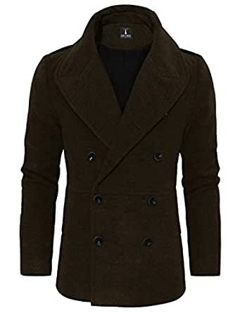 TAM WARE Men's Stylish Large Lapel Double Breasted Pea Coat TWCC16A-BROWN-US L